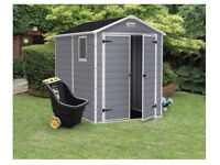 Keter Plastic Shed, 8x6 , Grey Colour (includes plastic floor) Brand New in Box.