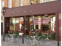 Moro restaurant waiting staff wanted, passionate and experienced, award-winning.