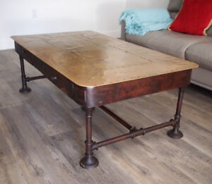 Copper-top industrial chic coffee table