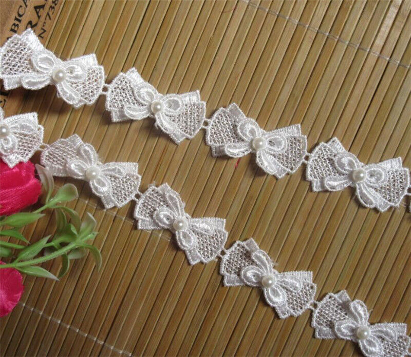 Wholesale 1yard//lot Leaf Pearl Embroidered Lace Edge Trim Ribbon Sewing Craft