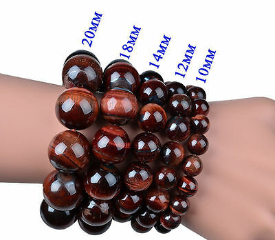 - 100% Real Natural Red Tiger's Eye Gemstone Round Beads Stretchy Bracelet 7.5''