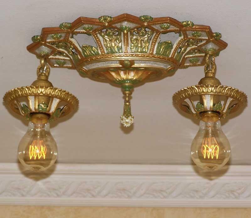 874 20's 30s aRT NOUVEAU Ceiling Lamp 2 Light  POLYCHOME {{BEAUTIFUL}}