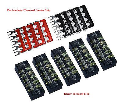 5x Dual Row 5 Position Screw Terminal Electric Barrier Strip Block 600v 15a