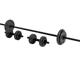 Opti 35kg Cast Iron Bar Barbell and Dumbbell Weight Set