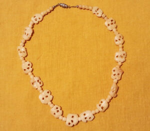 Antique Chinese Carved Hallowed Bovine Bone Flat Bead Necklace