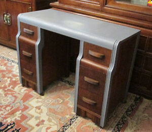 Elegant Grey and Brown Vintage Wooden Desk or Dresser Circa 1940