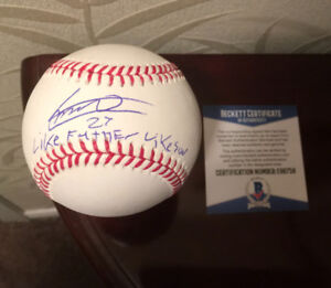 "Vlad Guerrero Jr Autograph-Beckett COA-""LIKE FATHER LIKE SON"""