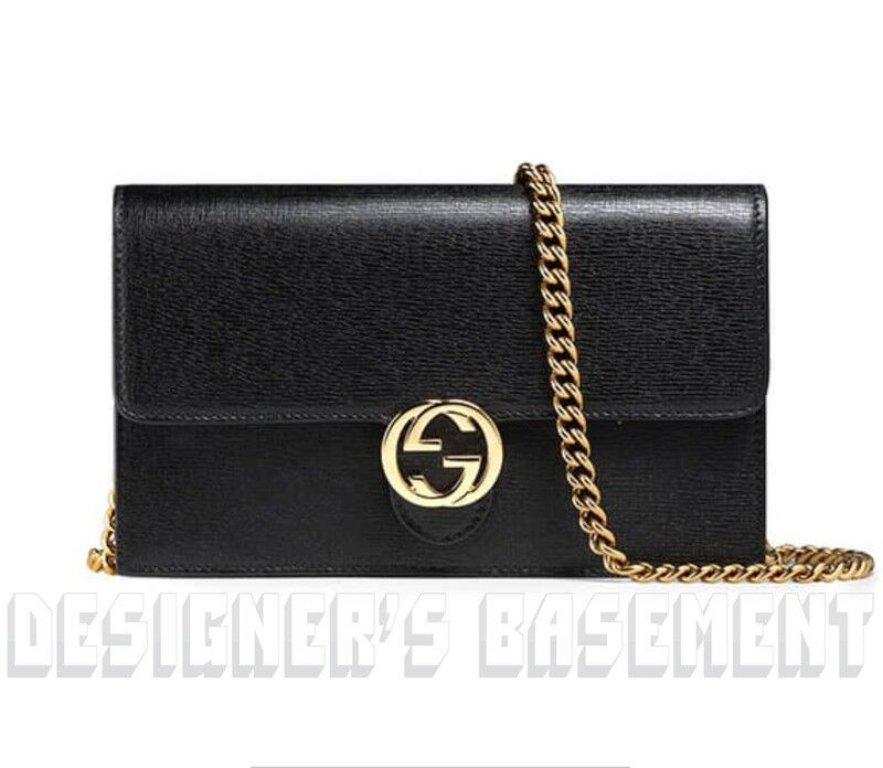 b31cf8aed6b8 GUCCI black ICON Leather INTERLOCKING G Mini CHAIN bag wallet NWT Authent  $1100! Item Number: 382456096696