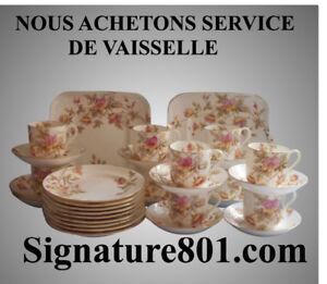 NOUS ACHETONS SERVICE DE VAISSELLE, CRYSTAL, L'ARGENTERIE 925