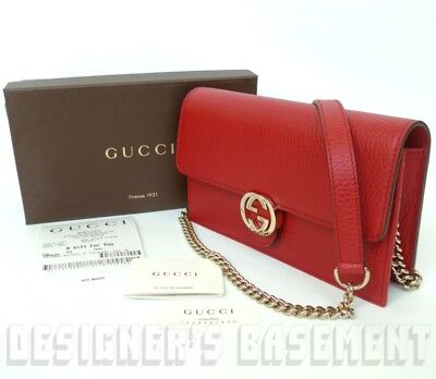 59cd1246618e ... GUCCI red Rosso Pebbled Leather INTERLOCKING G Mini CHAIN bag wallet  NWT Authent фото