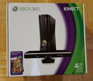 Xbox 360 console with box + kinect + 5 games