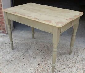 Very Shabby Painted Pine Kitchen Dining Table With Cutlery Drawer