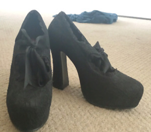 Demonia lace overlay pumps