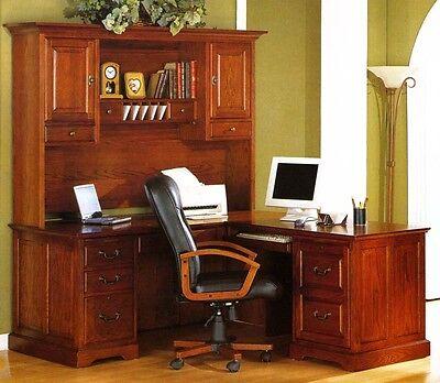 Golden Oak Savannah L-shaped Computer Desk Hutch Whalen Furniture Mfg. Co New