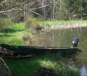 15' Fibre glass canoe and motor