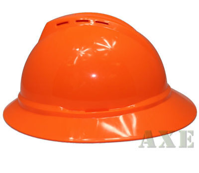 Msa V-guard Full Brim Hard Hat Vented 4-point Ratchet Suspension Hi-viz Orange