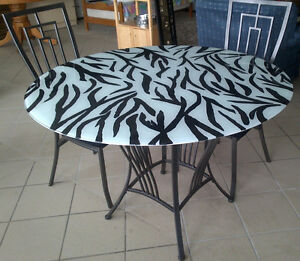 One of a Kind Glass Kitchen Table and 4 wrought iron chairs