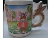 A Collectable Easter Bunny Coffee Mug Cup With Rabbit Handle - used