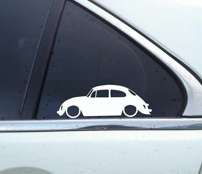 2X Lowered Low Classic VW beetle 1973 super beetle outline STICKERS