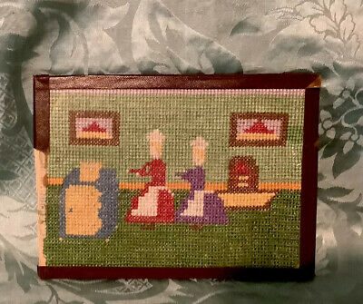 Antique Wool Needlepoint. Framed. Early 1900s.