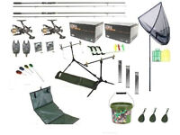 NEW Full Carp Fishing Rods Reels Tackle Set Up Kit Alarms Bait Tools Mat