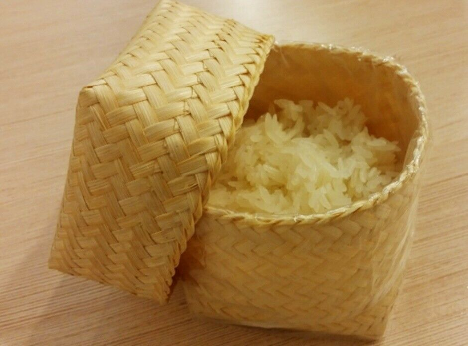 Kra-Tip Sticky Rice shape Bamboo Basket handmade Steamer Coo