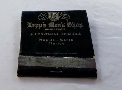 Vintage Matchbook Kepp's Men's Shop Naples Marco Island Fashion Clothing Fancy