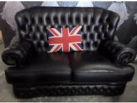 Stunning Chesterfield Black Leather High Spoon Back 2 Seater Sofa UK Delivery