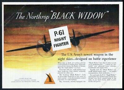 1944 USAF P-61 Night Fighter plane art Northrop vintage print ad for sale  Denver