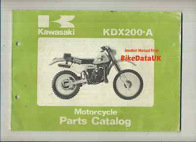 Genuine Kawasaki KDX200-A1 1983 Parts List Catalogue Book KDX 200 A Uni-Trak VMX