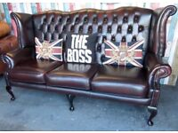 Stunning Chesterfield Queen Anne Wing Back 3 Seater Sofa Oxblood Red Leather - UK Delivery