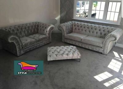 Chesterfield Sofa 3+2 Seater, Armchair Crushed velvet