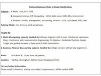 Tuition for Maths, Computer Science, Business ,Finance & Accounting