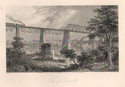 Louisville, KY. Ohio River, Trains, Riverboat, Vintage 1874 Antique Art, Print,