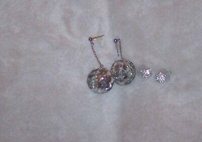 Two Pairs - Vintage 80's Disco Ball Earrings / Pair CHAPS rhinestone Stud Balls ](80s Disco Ball)
