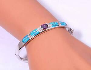 STERLING SILVER 925 BLUE FIRE OPAL INLAY CZ & AMETHYST(LAB)BANGLE Rothwell Redcliffe Area Preview
