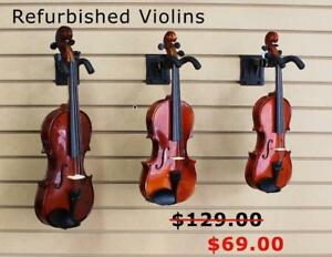 Used Violins All Sizes Hard Case, Bow, Brand New or Refurbished Quality Instruments with Warranty