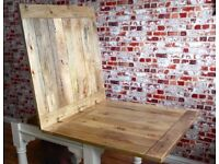 Rustic Dining Kitchen Extending Hardwood Table Country / Farmhouse Dining Table- Space Saving Design