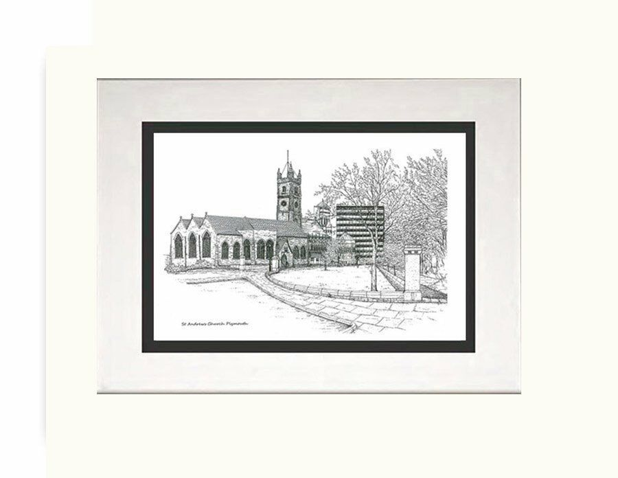 Plymouth,St Andrews Church Devon,Framed Pen And Drawing Print | in ...