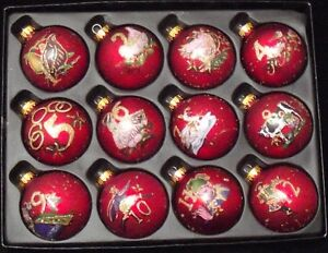 12-Days-of-Christmas-Glass-tree-Decorations-Full-Set-NEW-18891