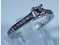 """Certified Platinum """"Hearts on Fire"""" Beaverbrooks 0.53ct Diamond Accent Engagement Ring rrp £2,750"""