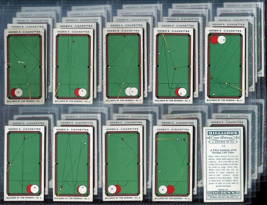50 Tobacco Cards,Ogden,BILLARDS,TOM NEWMAN,Snooker,Pool
