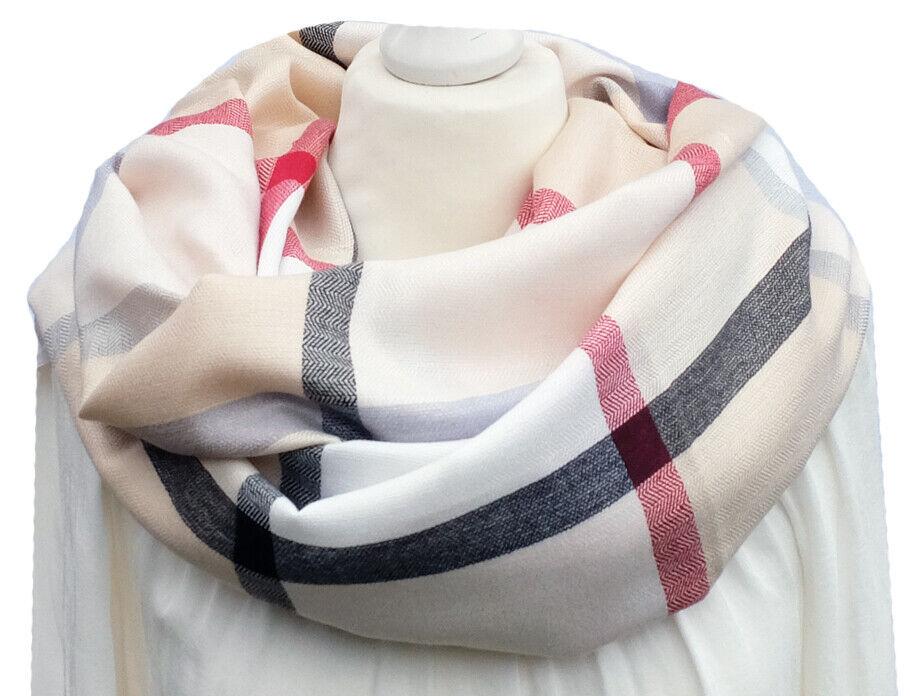 Großer klassischer Damen Schal Karo Muster beige rot Nova Check Tuch Stola