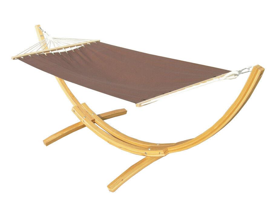 h ngematte mit gestell 310 x 120 cm braun hartholz holz h ngemattengestell ge lt ebay. Black Bedroom Furniture Sets. Home Design Ideas