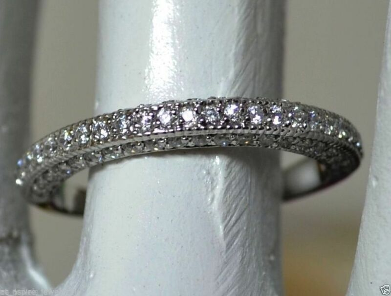 Solid 14k White Gold Diamond Wedding Band Round Brilliant Cut 0.75 Cts