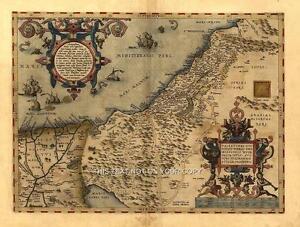 Large Palestinian Middle East Palestine Syria Israel Jordan Old Antique Map Plan