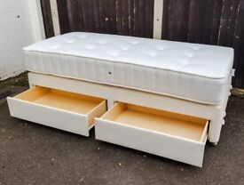 John Lewis Single Divan Bed with Mattress and 2 Drawers