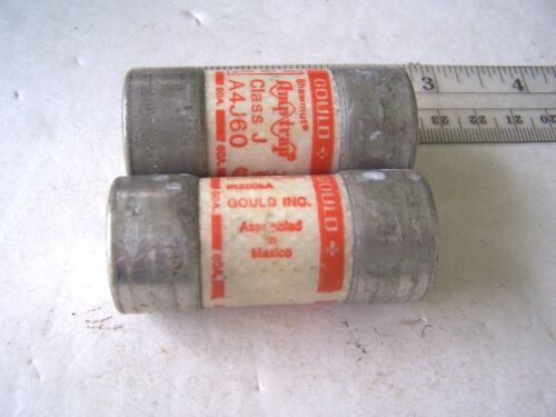 60 Amp 600 VAC Buss Fuses Gould Amptrap Class J A4J60 lot of 2 tested OK