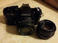 Cosina CT-1 35mm film SLR camera and lenses