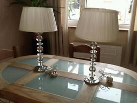 Large crystal glass table lamps x 2 laura ashly lamps
